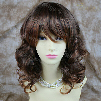 Wavy Brown & Auburn Mix Off Centre Lovely Skin Top Ladies Wig From WIWIGS UK