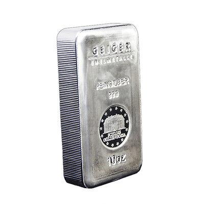 10 oz Geiger Edelmetalle Security Line Silver Bar .999 Fine (New)
