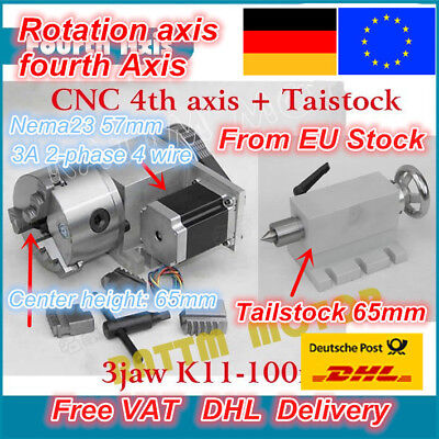 DE K11-100mm Fourth Rotary 4th Axis 3 Jaw Chuck & 65mm Tailstock For CNC Router