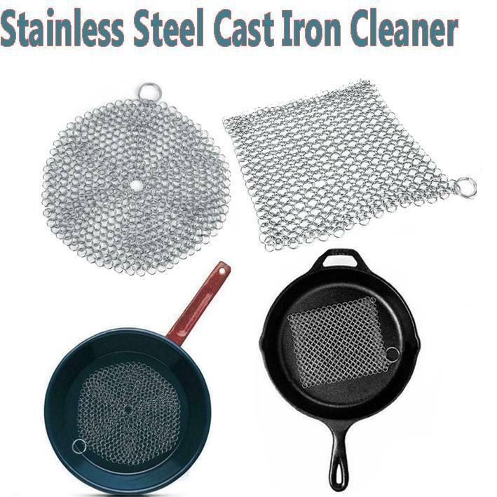 Stainless Steel Cast Iron Pot Cleaner Chain Mail Scrubber Co