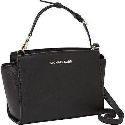 [BKPs] Michael Kors Medium Selma Saffiano Leather Messenger Handbag  [Black]