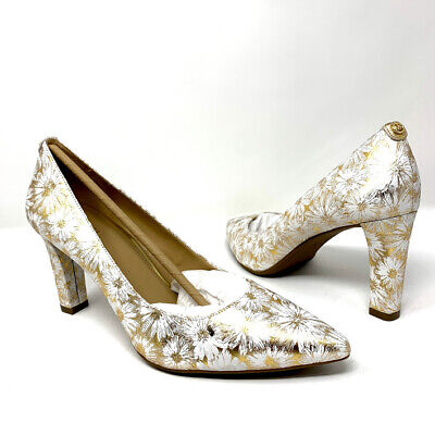 Michael Kors Floral Leather  Women's Size 9.5 Gold/White High Heels Shoes PV17K