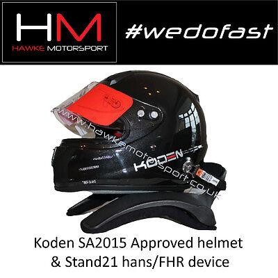 Koden SA2015 Approved Black Motorsport Helmet & Stand 21 HANS Device