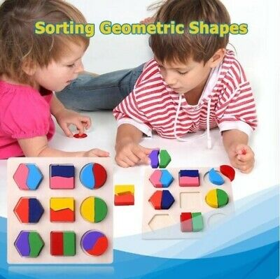 Wooden Geometric Shape Board Baby Kids Toy Montessori Puzzle Educational Game US Shape Puzzle Board