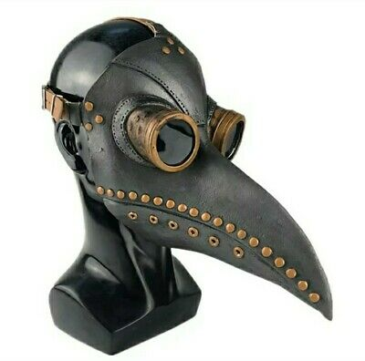 Plague Doctor Mask Bird Long Nose Beak PU Leather Steampunk Halloween Costume US