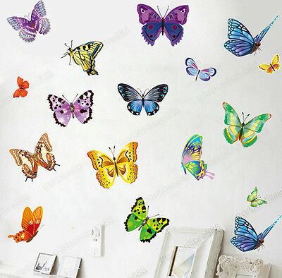 Home Decoration - 17 Colourful Butterflies Wall Stickers Transparent Vinyl Decal Home Kids Decor