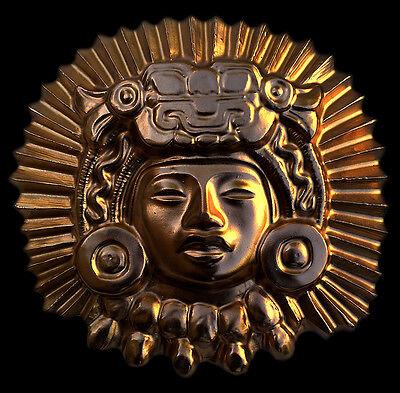 Aztec Inca Maya King Ancient wall relief plaque gold finish replica reproduction