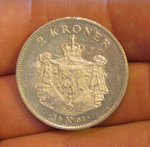 Norway - 1907 Silver 2 Kroner - Very Scarce & Nice