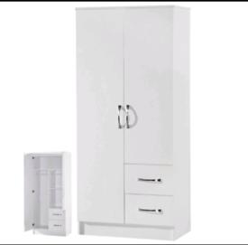 2 Door 2 Drawer Wardrobe White