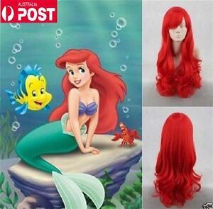 Red Disney Little Mermaid Princess Ariel Curly Long Women Heat Cosplay Hair Wig