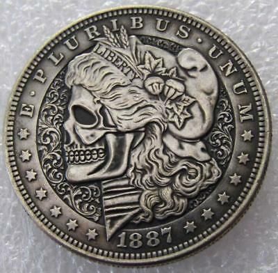 US 1887 Morgan Dollar Skull Zombie Skeleton High Quality Coin
