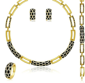 gold and black necklace, bracelet, earrings and ri