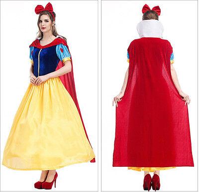 Carnival Purim Costume Snow White Fairytale Princess Dress Cosplay  Adult (Purim Kostüme)
