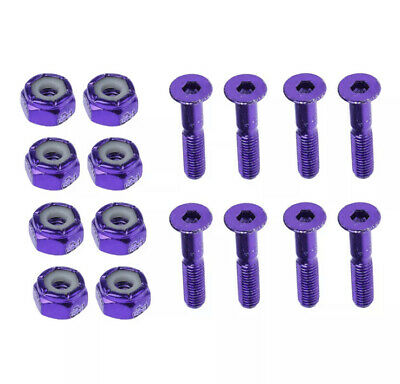 SET OF 16 REPLACEMENT SKATEBOARD TRUCK HARDWARE SET SCREWS BOLTS BLUE AND PURPLE
