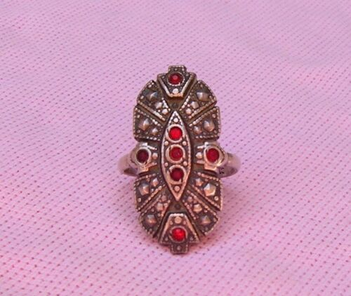 Vintage Antique Art Deco Sterling Silver Ruby Rhinestone Long Pinky Ring Size @4