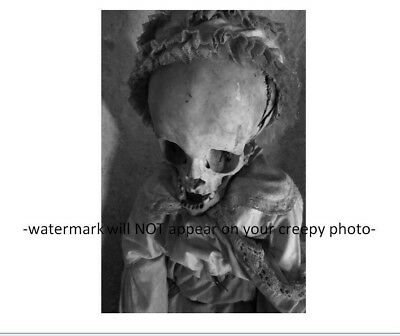 Vintage Scary Baby Huge Head PHOTO Freak Creepy Corpse Kid Grisly Horror Skull