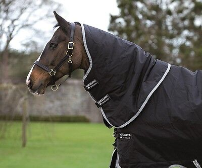 (Horseware Rambo SUPREME TURNOUT HOOD Neck Cover Heavyweight 150g Black S-XL)