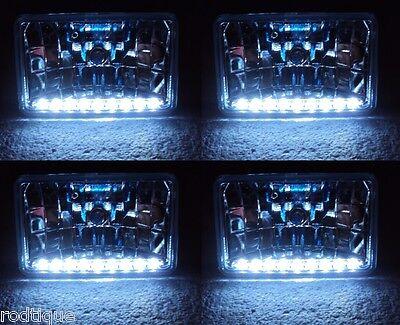 """Xenon Headlights 9 White LED 's 6"""" x 4"""" 4 Head Lamp Conversion Turn / Park 6x4"""