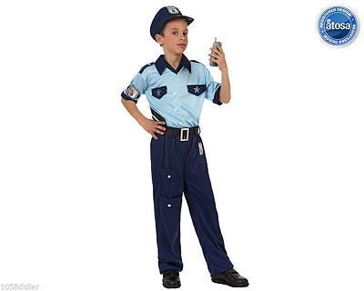 Cheap Child Costumes (Costume Boy Police OFFICER Blue 5/6 Years Children Suit Police NEW)