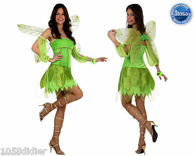 Costume Woman Tinker Bell Green M/L 40/42 Drawing Cartoon NEW cheap