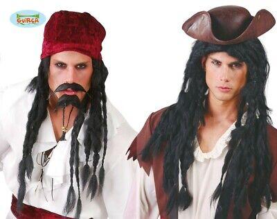 schwarze lange Rasta Piraten Perücke Karneval Halloween Zubehör - Halloween Pirat Zubehör