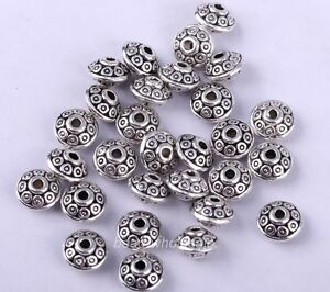 100pcs Tibetan Silver Antique Fashion Loose Spacer Bead Finding For Craft 6.5mm