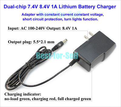 8.4V 7.2V 7.4V 1000mA 2S Lithium Ion Battery Charger Adapter for Li-ion LiPo US