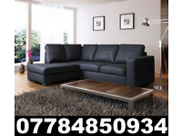 NEW LEATHER WESTPOINT CORNER SOFA BLACK + DEL 43994