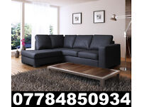 NEW LEATHER WESTPOINT CORNER SOFA BLACK + DEL 2805