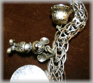 1970's --STERLING Charm Bracelet - WITH - Six Charms