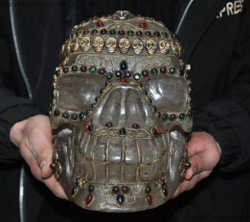 "9""Rare Tibet crystal Filigree Inlay Gem Evil Skull Skeleton Cranium Head Statue"