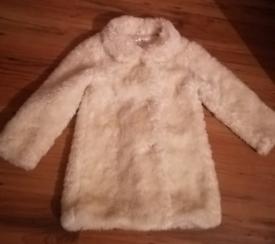 Girls faux fur coat size 3-4 years