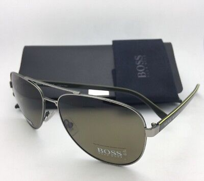 Neu Hugo Boss Sonnenbrille 0761/S Qjids Ruthenium-Khaki Aviator W / Brown