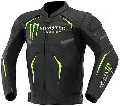 Racing Replica Leather Jacket - Monster Motorbike Racing Leather Jacket For Men's All Size Available Replica