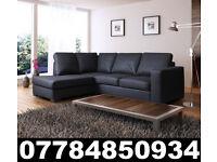 NEW LEATHER WESTPOINT CORNER SOFA BLACK + DEL 93470