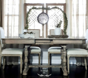 WEATHERED ANTIQUE DINING TABLE