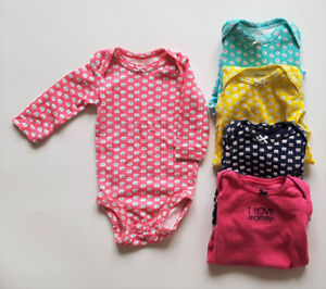 Selling 5 long-sleeve bodysuits.  Size: 3 months.  $10 for all