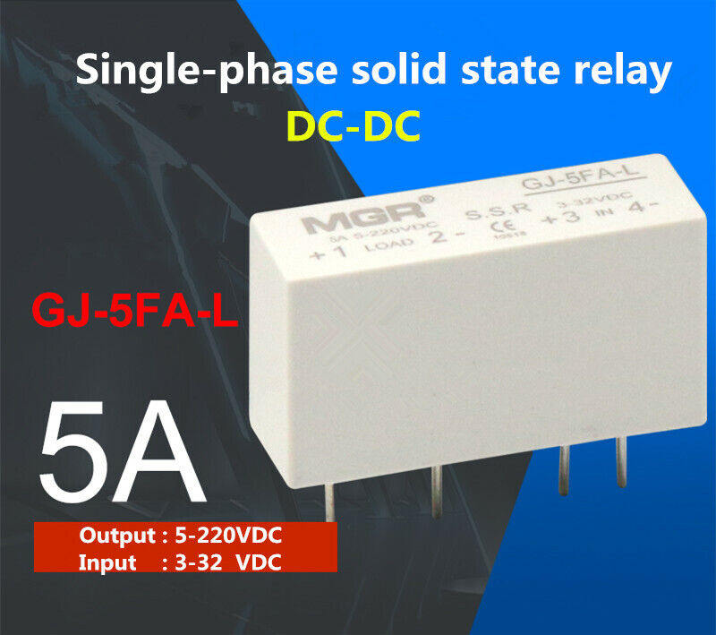 1pcs GJ-5FA-L single-phase solid state relay 5A DC-DC load 5-220VDC/IN 3-32VDC