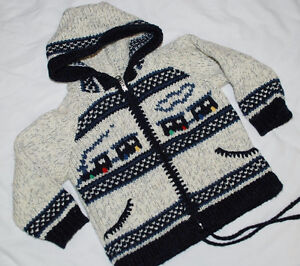 Boy Warm Sweater 2T 2 Years Black White, Made in Portugal