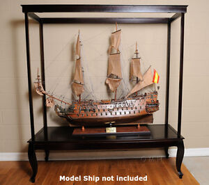 "XXL Wooden Display Case for 58"" Tall SHIP Models Sailboats ..."