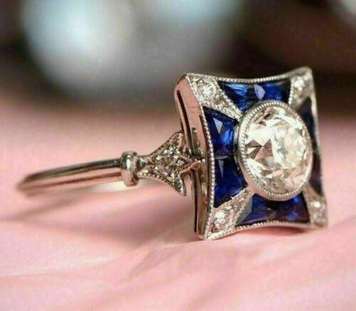 Engraved Antique Vintage Retro Engagement Ring 14K White Gold Over 2 Ct Diamond