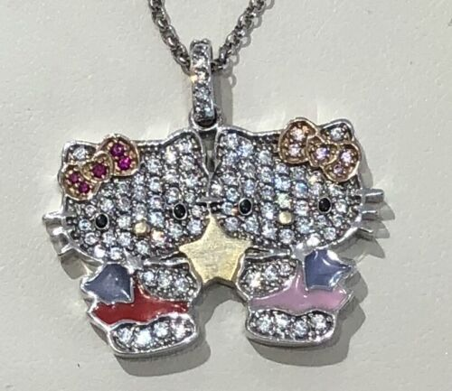 "Hello Kitty ""Gemini"" Necklace - Sterling Silver & CZ"