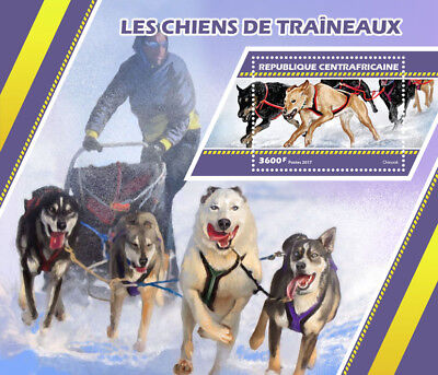 Central African Rep 2017 MNH Sledge Sled Dogs Chinook 1v S/S Stamps