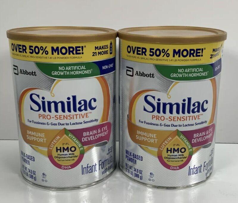Similac Pro-Sensitive Non-GMO Infant Formula 34.9oz each Cans Lot of 2 Free Ship