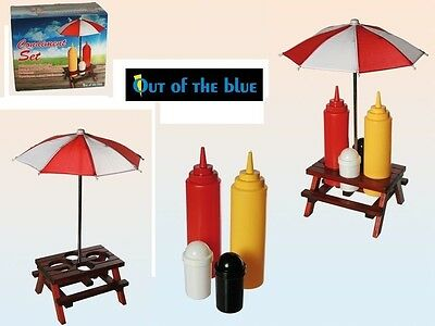 Picnic Condiment Set Wooden Table Holder Plastic Ketchup, Mustard, Salt & Pepper