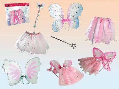 Kinder Feenkostüm mit Flügeln Feenstab und Tüllrock