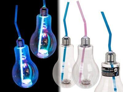 12 Kunststoff Trinkgläser Trinkglas im Glühbirnen Design Party + Trinkhalm + LED ()