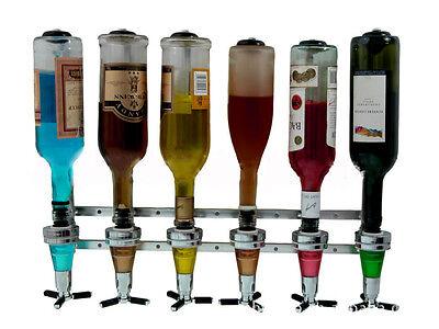 Free Shipping Wall Mounted Liquor Dispenser 6 bottle Bar Home Open Wall Sliver