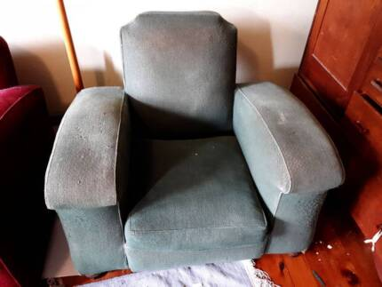 Two Single Club Lounge Chairs - Art Deco Style