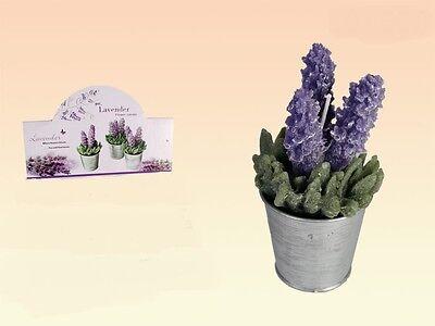 Lavendel Kerze Zinn (Duftkerze Kerze im Zinntopf Motivkerze Lavendelduft Lavendel Lavendelblüte  NEU)